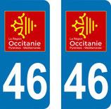 Lot de 2 adhésifs Occitanie Midi Pyrénées 46 Lot