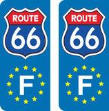 Logo Route 66 couleur bleu et rouge Europe