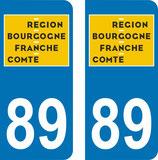 Lot de 2 adhésifs nouveau logo Bourgogne Franche Comté 89 Yonne