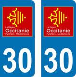 Lot de 2 adhésifs Occitanie Languedoc Roussillon 30 Gard