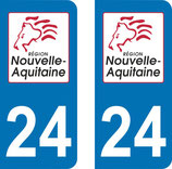 Lot de 2 stickers Nouvelle Aquitaine N°  24