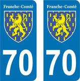 Lot de 2 Blasons Franche Comté 70 Haute Saone