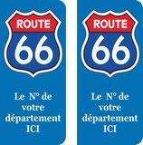 Logo Route 66 couleur bleu et rouge N° au choix