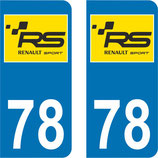 Lot de 2 stickers Renault Sport RS fond jaune N° 78