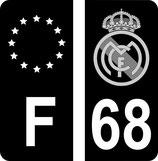 Lot de 2 stickers Real Madrid en N&B et 2 stickers F Europe en N&B en  110 m Haut