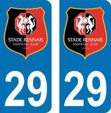 Lot de 2 stickers nouveau logo Stade Rennais avec le n° 29