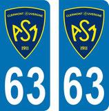 Lot de 2 stickers ASM Clermont nouveau logo N° 63 et 2 stickers N° 78