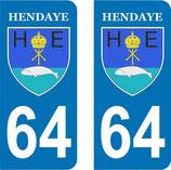 Lot de 2 stickers ville de Hendaye n° 64
