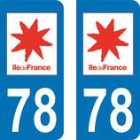 Lot de 2 adhésifs Ile de France 78 Yvelines