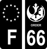 Lot de 2 stickers Europe Noir et 2 stickers Perso Starwars avec n° 66  H100mm