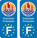 Lot de 2 stickers Logo rond Polynésie Française Europe
