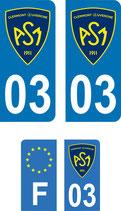 Lot de 4 paires ASM voiture avec n° 03  et  5 stickers format moto ASM n° 03