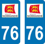 Lot de 2 stickers région Normandie n° 76 Seine Maritime