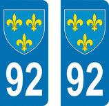 Lot de 2 Blasons Ile de France 92 Haut de Seine