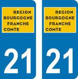 Lot de 2 adhésifs nouveau logo  Bourgogne Franche Comté 21 Cote d'Or