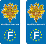 Lot de 2 stickers Emblème de la France Europe.