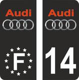 Lot de 2 stickers Audi europe fond noir étoiles blanche et 2 stickers audi n°  14