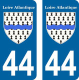Lot de 2 stickers armoiries 44 Loire Atlantique