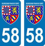 lot de 2 Blasons Bourgogne 58 Nièvre
