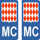 Lot de 2 Blasons drapeau Monégasque