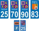lot de 56 paires de stickers Bourgogne Franche Comté N° 25, 70, 90, 83, et moto 25