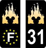 Lot de 2 paires de stickers Chateau Disney europe et n° 31 une paire en 102 mm et une paire en  110 mm fond noir