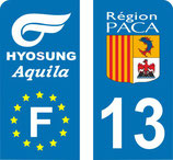 Lot de 2 stickers Moto avec logo Perso HYOSUNG Aquila et n° 13