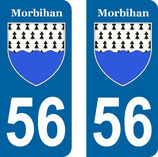 Lot de 2 stickers armoiries 56 Morbihan