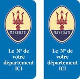 Lot de 2 stickers Ancien logo Maserati N° au choix.