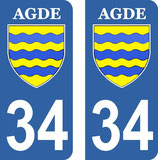 Lot de 2 stickers Blason de Agde 34