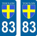 Lot de 2 stickers  ville de Toulon