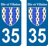 Lot de 2 stickers armoiries Ile et Vilaine 35