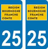 Lot de 2 adhésifs nouveau  logo Bourgogne Franche Comté 25 Doubs