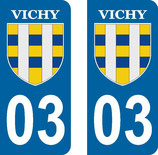Lot de 2 stickers ville de Vichy
