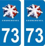 Lot de 2 stickers de  Courchevel n° 73