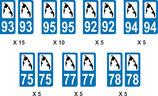 Lot de 40 paires de stickers, perso  Eelam N° 93. 95. 92. 94. 75. 77. 78.