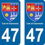 Lot de 2 Blasons Aquitaine 47 Lot et Garonne