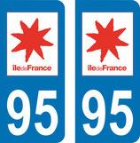 Lot de 2 adhésifs Ile de France 95 Val d'Oise