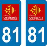 Lot de 2 adhésifs Occitanie Midi Pyrénées 81 Tarn