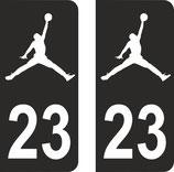 Lot de 2 stickers Jordan fond noir avec le n° 23