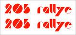 Lot de 2 stickers lettres découpées   205 Rallye  ( 14 cm ) de long