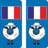 Lot de 3 paire stickers voiture Mouton et drapeau France coté droit et une paire moto  60x30