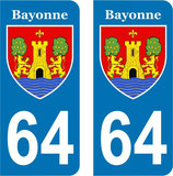 Lot de 2 stickers armoiries ville de Bayonne n° 64