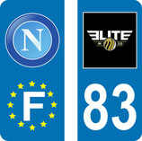 Lot de 2 stickers Napoli Europe et 2 stickers Elite N° 83