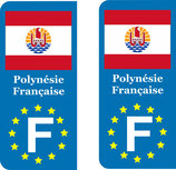 Lot de 2 stickers Polynésie Française Europe drapeau