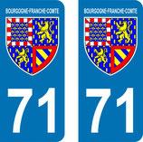 Lot de 2 Blasons Bourgogne 71 Saone et loire