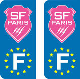 Lot de 2 stickers Stade Français nouveau logo Rose Europe