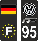 Lot de 2 paires de sickers WV n° 95 avec europe et drapeau allemagne