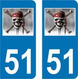 Lot de 2 stickers spéciaux Corsaire avec n° 51