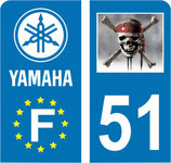 lot de 2 stickers Moto Pirate et Yamaha  6x3 cm